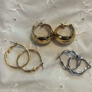 3 pair hoop earrings trafari monet pierced